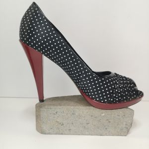 "Aldo 5"" heels. Black white polka dot Burgundy Trim"